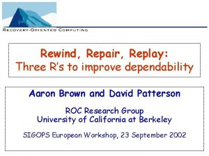 Rewind Repair Replay Three Rs to improve dependability