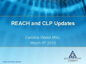 REACH and CLP Updates Caroline Walsh MSc March