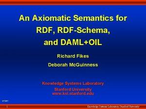 An Axiomatic Semantics for RDF RDFSchema and DAMLOIL