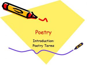 Poetry Introduction Poetry Terms Poetry Terms Language sung