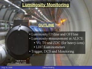 Luminosity Monitoring OUTLINE Luminosity ONline and OFFline Luminosity
