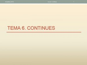Estadstica GITI Tema 6 Continues TEMA 6 CONTINUES