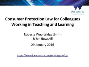 Consumer Protection Law for Colleagues Working in Teaching