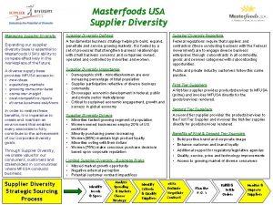Masterfoods USA Supplier Diversity Managing Supplier Diversity Expanding