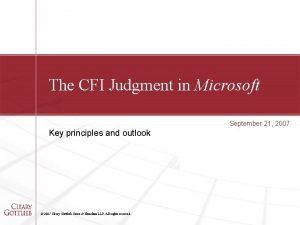 The CFI Judgment in Microsoft September 21 2007