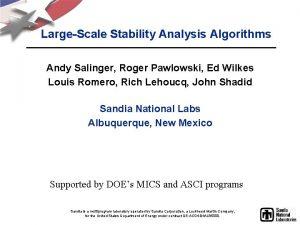 LargeScale Stability Analysis Algorithms Andy Salinger Roger Pawlowski