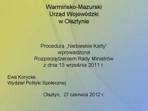 WarmiskoMazurski Urzd Wojewdzki w Olsztynie Procedura Niebieskie Karty