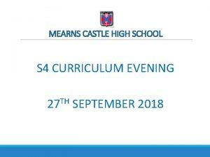MEARNS CASTLE HIGH SCHOOL S 4 CURRICULUM EVENING
