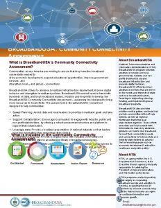 BROADBANDUSA COMMUNITY CONNECTIVITY ASSESSMENT About Broadband USA What