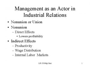 Management as an Actor in Industrial Relations Nonunion