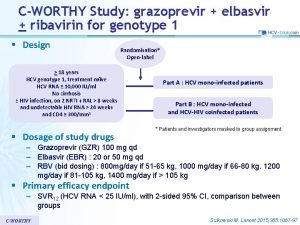 CWORTHY Study grazoprevir elbasvir ribavirin for genotype 1