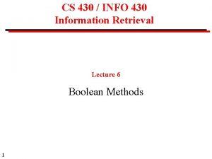 CS 430 INFO 430 Information Retrieval Lecture 6