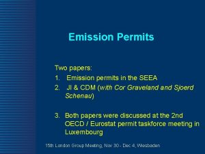 Emission Permits Two papers 1 Emission permits in
