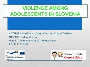 VIOLENCE AMONG ADOLESCENTS IN SLOVENIA AUTHORS Matej Kova