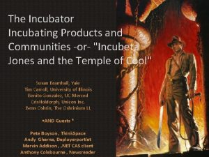 The Incubator Incubating Products and Communities or Incubeta