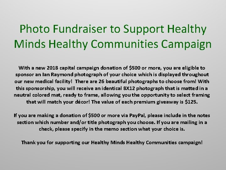 Photo Fundraiser to Support Healthy Minds Healthy Communities