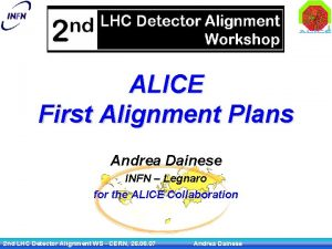 ALICE First Alignment Plans Andrea Dainese INFN Legnaro