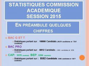 STATISTIQUES COMMISSION ACADEMIQUE SESSION 2015 EN PRAMBULE QUELQUES