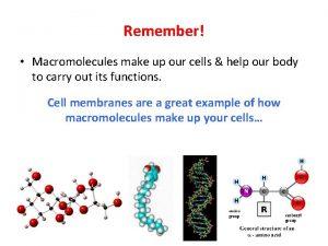 Remember Macromolecules make up our cells help our
