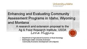 Enhancing and Evaluating Community Assessment Programs in Idaho