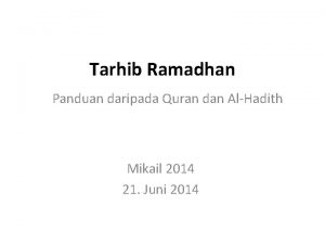 Tarhib Ramadhan Panduan daripada Quran dan AlHadith Mikail