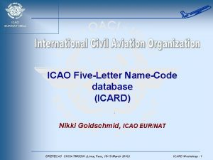 ICAO EURNAT Office ICAO FiveLetter NameCode database ICARD