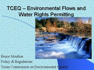 TCEQ Environmental Flows and Water Rights Permitting Bruce