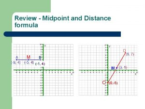 Review Midpoint and Distance formula D A M
