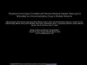 Peripheral Immunotype Correlates with Minimal Residual Disease Status