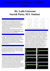 Numerical Investigations of Pulsatile Flows Dr Laila Guessous