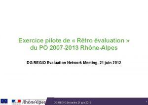 Exercice pilote de Rtro valuation du PO 2007