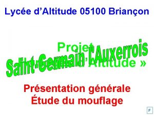 Lyce dAltitude 05100 Brianon Projet Horloges dAltitude Prsentation