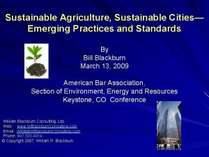 Sustainable Agriculture Sustainable Cities Emerging Practices and Standards