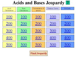 Acids and Bases Jeopardy Acid Calculations Base Calculations