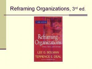 Reframing Organizations 3 rd ed Chapter 11 Organizations