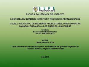 ESCUELA POLITCNICA DEL EJRCITO INGENIERA EN COMERCIO EXTERIOR