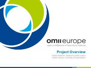 Project Overview Daniel Mallmann Research Centre Juelich Alistair