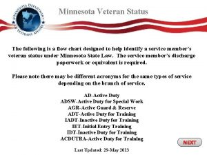 Minnesota Veteran Status The following is a flow