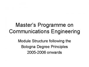 Masters Programme on Communications Engineering Module Structure following