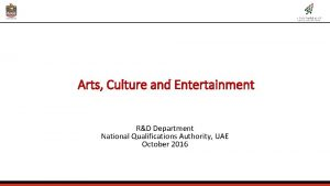Arts Culture and Entertainment RD Department National Qualifications
