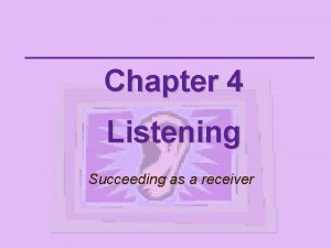 Chapter 4 Listening Succeeding as a receiver Listening