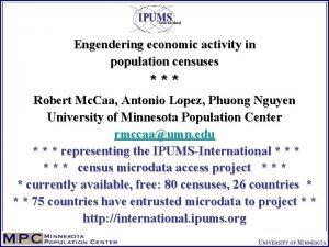 Engendering economic activity in population censuses Robert Mc