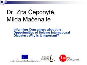 Dr Zita eponyt Milda Manait Informing Consumers about