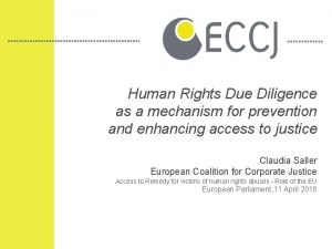 Human Rights Due Diligence as a mechanism for
