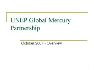 UNEP Global Mercury Partnership October 2007 Overview 1