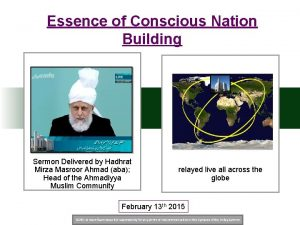 Essence of Conscious Nation Building Sermon Delivered by
