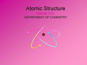 Atomic Structure NIKAM N D DEPARTMENT OF CHEMISTRY
