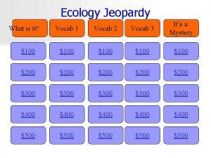 Ecology Jeopardy Vocab 1 Vocab 2 Vocab 3