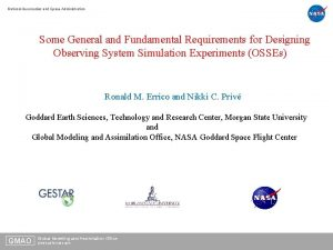 National Aeronautics and Space Administration Some General and