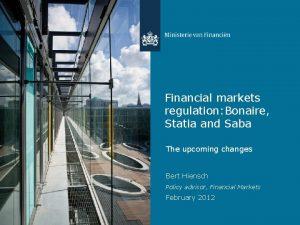 Financial markets regulation Bonaire Statia and Saba The